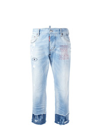 Dsquared2 Keep The Faith Embroidered Cropped Jeans