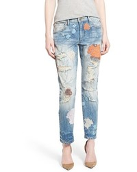 True Religion Brand Jeans Liv Embroidered Crop Boyfriend Skinny Jeans