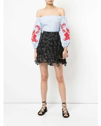 Tanya Taylor Embroidered Off The Shoulder Blouse