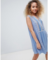 Light Blue Embroidered Peasant Dress