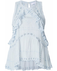Light Blue Embroidered Sleeveless Top