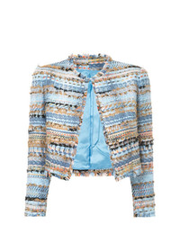 Isabel Sanchis Tweed Embroidered Cropped Jacket