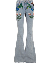 Gucci for NET-A-PORTE Appliqud Mid Rise Flared Jeans