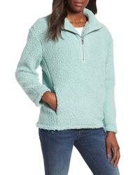 Light Blue Fleece Zip Neck Sweater
