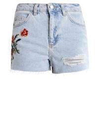 Topshop Fire Flower Denim Shorts Lightdenim