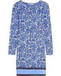 MICHAEL Michael Kors Michl Michl Kors Chiltington Floral Print Stretch Satin Jersey Dress Blue