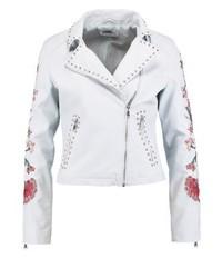 Faux leather jacket light blue medium 3993154