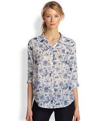 Light Blue Floral Long Sleeve T-shirt