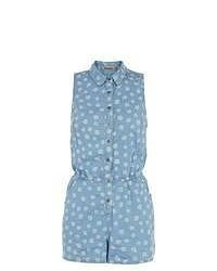 New Look Blue Daisy Print Playsuit