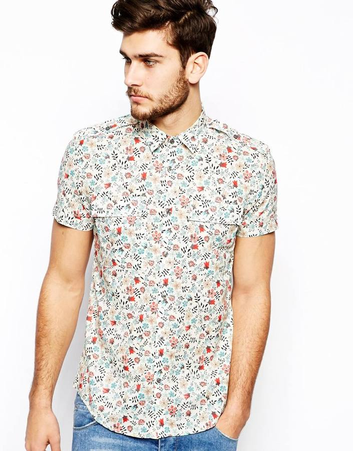 Men's Fashion › Shirts › Short Sleeve Shirts › Light Blue Floral Short  Sleeve Shirts Antony Morato Shirt With Floral Print White