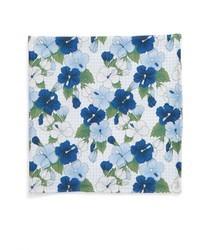 Light Blue Floral Silk Pocket Square