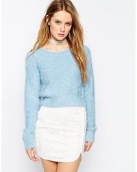 Light Blue Fluffy Crew-neck Sweater