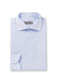 Canali Blue Slim Fit Micro Checked Cotton Poplin Shirt