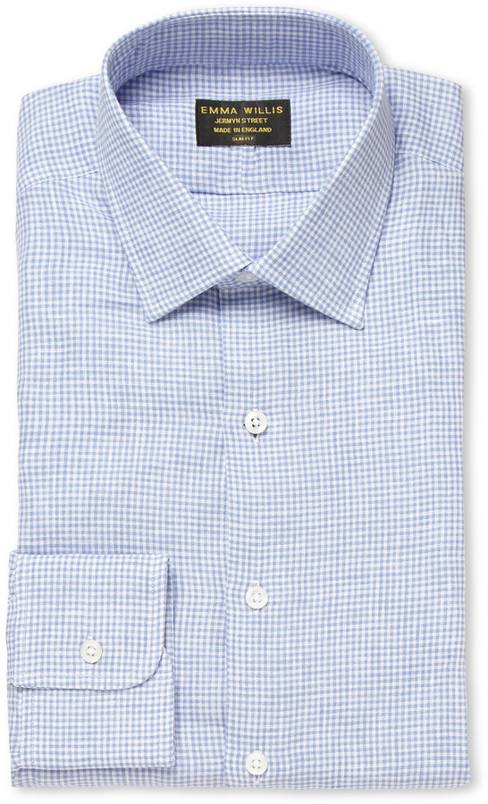 Blue Houndstooth Check Linen Shirt Emma Willis Largest Supplier Online Best Prices Comfortable Cheap Sale Factory Outlet Free Shipping Real Fg515f