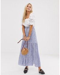 En Creme Maxi Skirt In Gingham With Thigh Split And