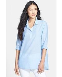 Lafayette 148 New York Sedona Stripes Henley Tunic Shirt