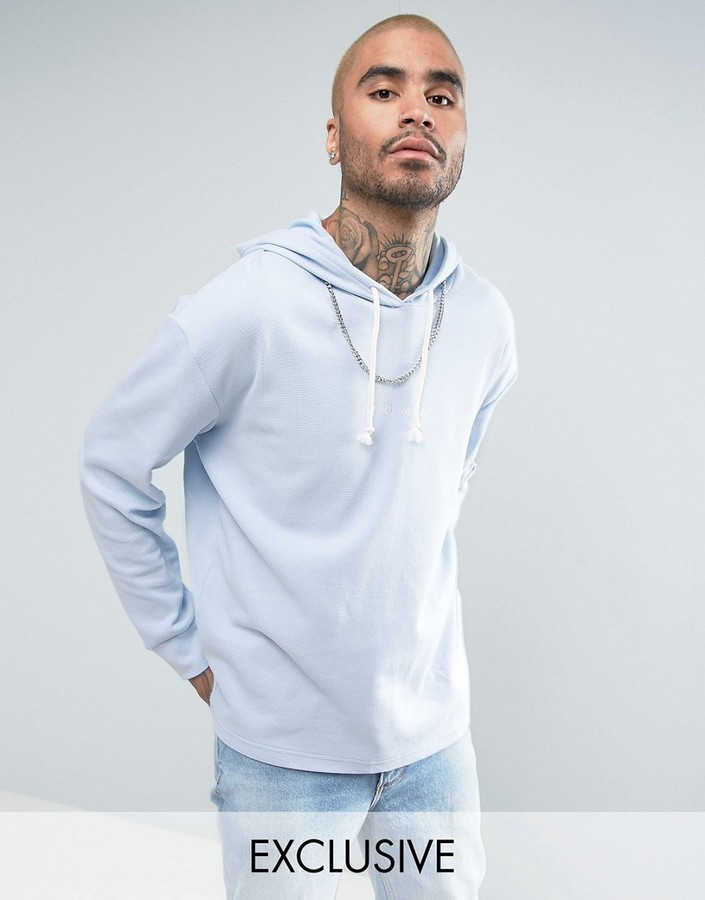 ... Puma Waffle Oversized Hoodie In Blue To Asos ... d8e39cb9a3169
