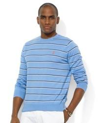 Light Blue Horizontal Striped Crew-neck Sweater