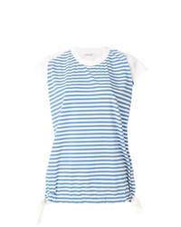 Light Blue Horizontal Striped Crew-neck T-shirt