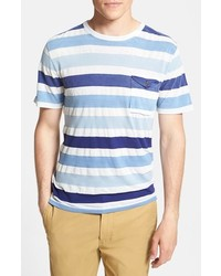 Light Blue Horizontal Striped Crew-neck T-shirt