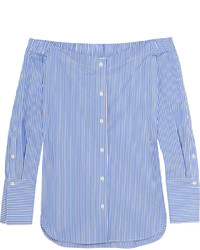Rag & Bone Kacy Off The Shoulder Striped Cotton Poplin Blouse Blue