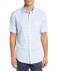 Light Blue Horizontal Striped Short Sleeve Shirt