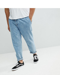 ASOS DESIGN Asos Plus Double Pleated Jeans In Mid Wash Blue