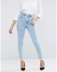 Asos Farleigh Slim Mom Jeans In Sunni Pretty Midwash With Raw Hem