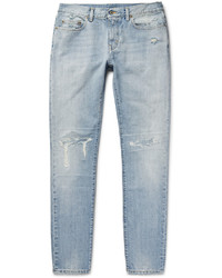 Saint Laurent Skinny Fit 16cm Distressed Washed Denim Jeans