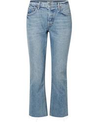 Grlfrnd Tatum Cropped Frayed Mid Rise Straight Leg Jeans