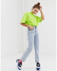 Collusion X005 Straight Leg Jeans In Acid Wash With Bum Rips