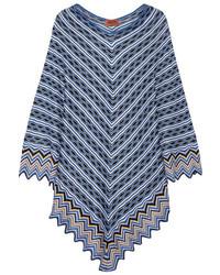 Metallic crochet knit poncho bright blue medium 743612