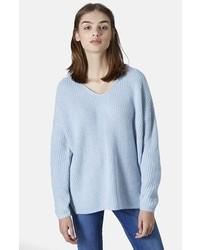 Double v neck rib sweater medium 131887