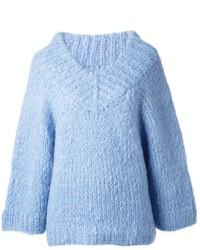 Michael Kors Michl Kors Ribbed Trimming Oversized V Neck Sweater