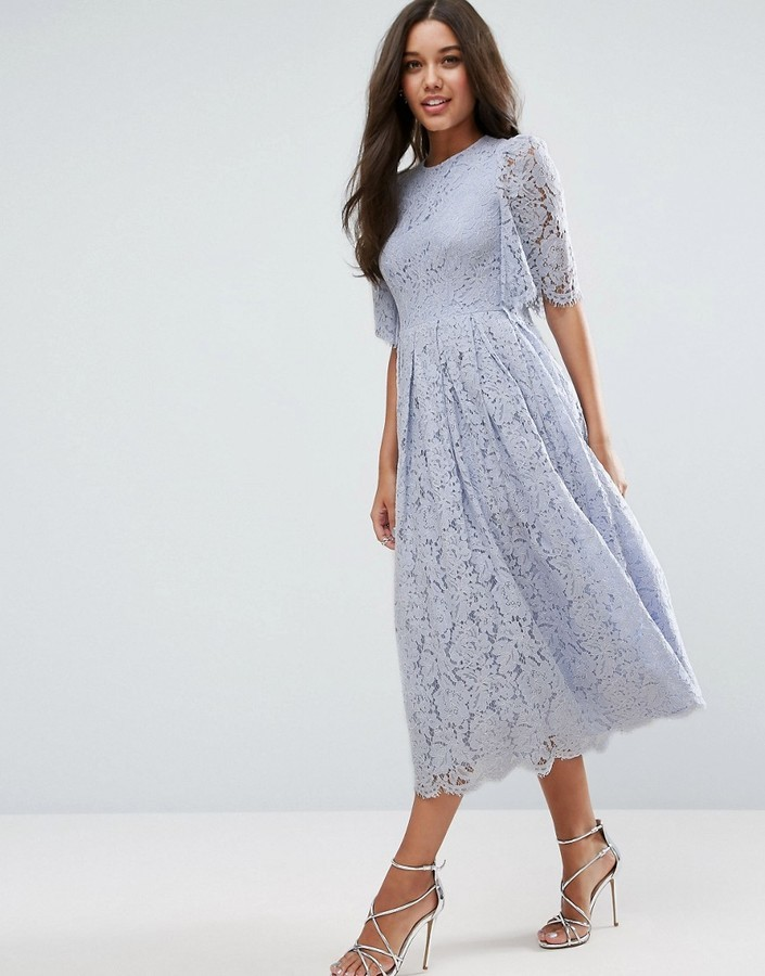 92 Asos Flutter Sleeve Lace Prom Dress