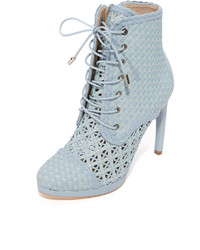 Light Blue Leather Ankle Boots