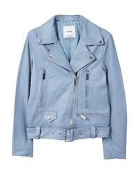 Mango Leather Jacket Light Blue