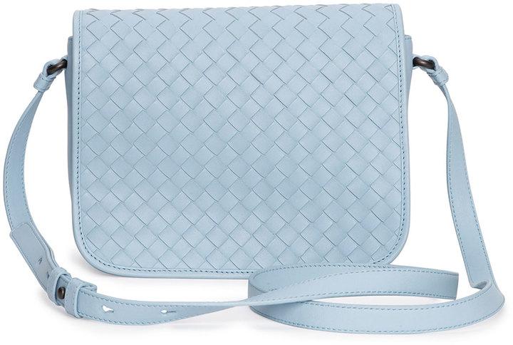 b850c8be36 ... Leather Crossbody Bags Bottega Veneta Small Woven Flap Crossbody Bag  Light Blue ...