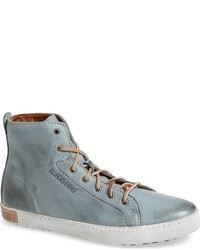 Light Blue Leather High Top Sneakers