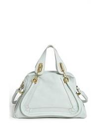 Light Blue Leather Satchel Bag