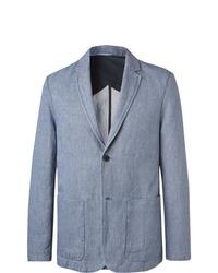 Mr P. Light Blue Cotton And Linen Blend Chambray Blazer