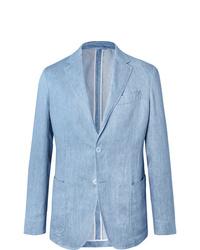 Ermenegildo Zegna Light Blue Unstructured Linen Blazer