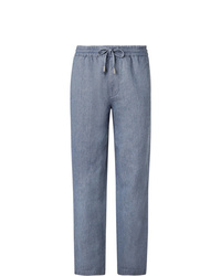 Mr P. Wide Leg Light Blue Linen And Cotton Blend Chambray Drawstring Trousers