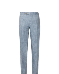 Canali Dusty Blue Kei Slim Fit Tapered Mlange Linen And Silk Blend Suit Trousers