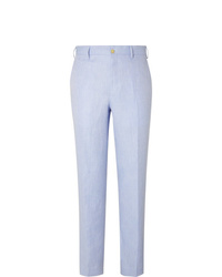 Anderson & Sheppard Sky Blue Slim Fit Herringbone Linen Trousers