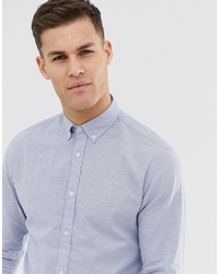 Jack & Jones Essentials Long Sleeve Linen Mix Shirt In Slim Fit