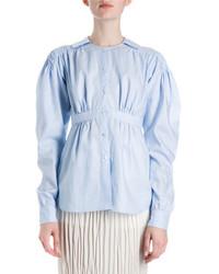 Loewe Smocked Cotton Puff Sleeve Blouse Light Blue