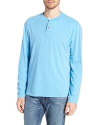 Light Blue Long Sleeve Henley Shirt