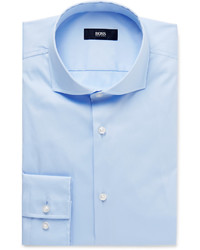 Hugo Boss Blue Jason Slim Fit Cutaway Collar Stretch Cotton Blend Shirt