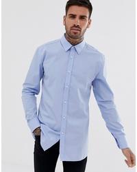 Hugo Elisha01 Tonal Logo Extra Slim Fit Shirt In Light Blue